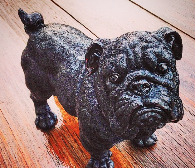 Image of Winston the bulldog - resin art / statue (cosmic black)