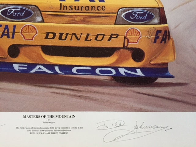 "Image of Bathurst 1994 Print Signed by Dick Johnson & John Bowe. ""Masters of the Mountain""."
