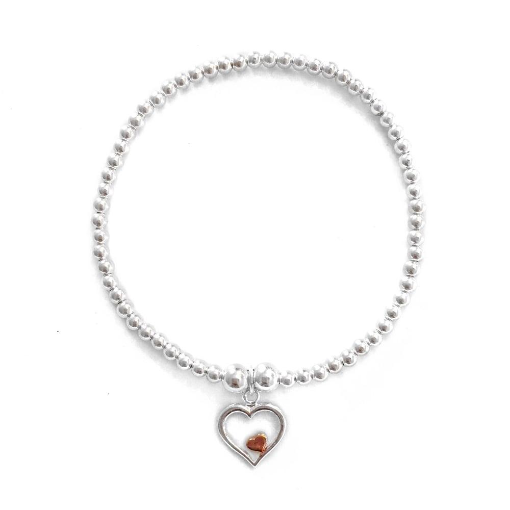Image of Sterling Silver Rose Gold & Silver Heart Charm Bracelet
