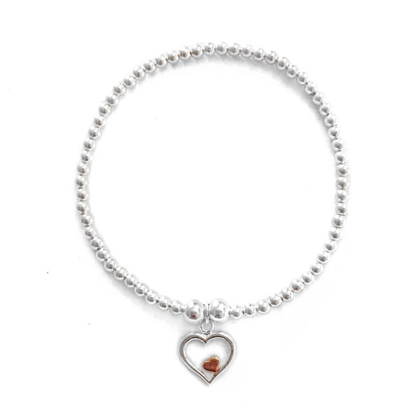 Image of Sterling Silver Rose Gold & Silver Heart Within a Heart Charm Bracelet