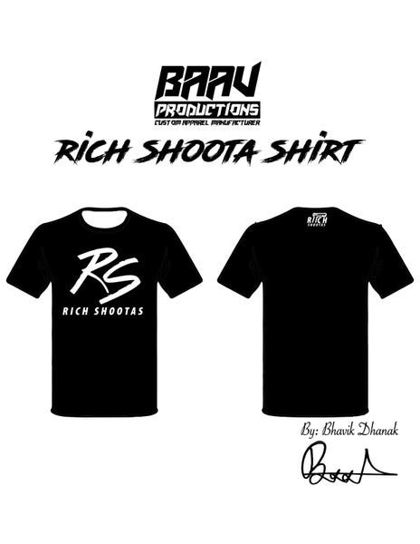 Image of RS Black Tee Shirt with White Font