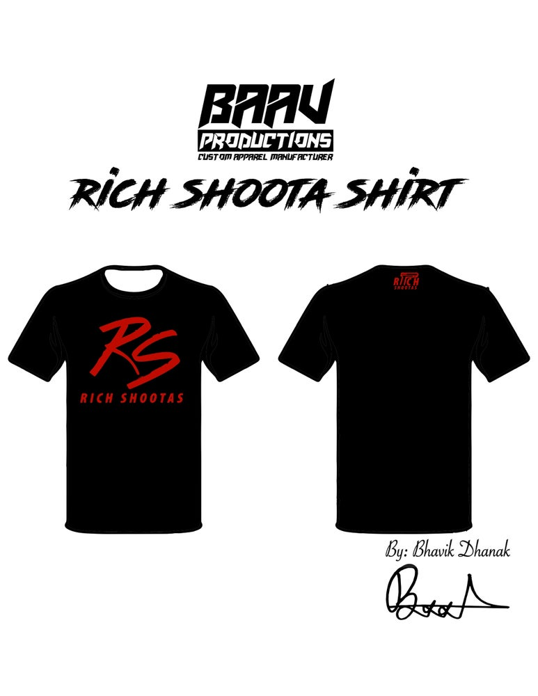 Image of RS Black Tee Shirt with Red Font