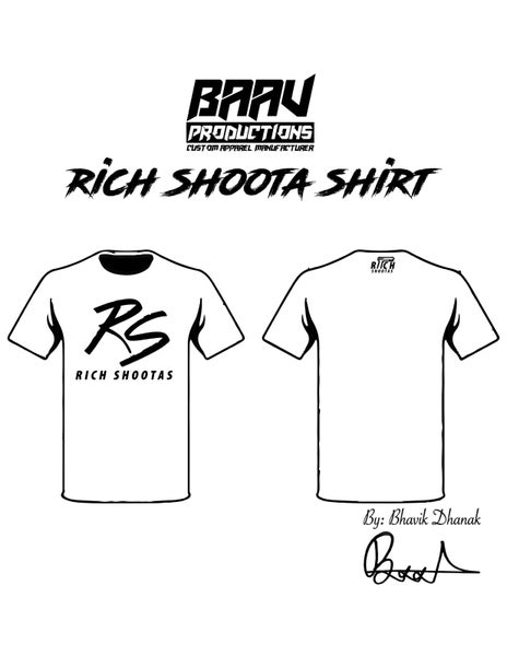 Image of RS White Tee Shirt with Black Font