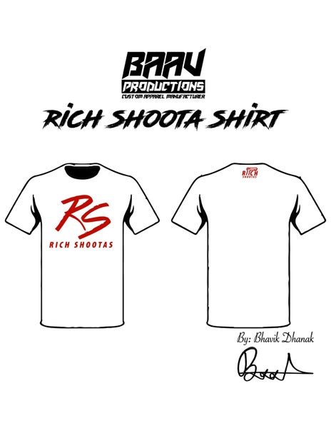 Image of RS White Tee Shirt with Red Font