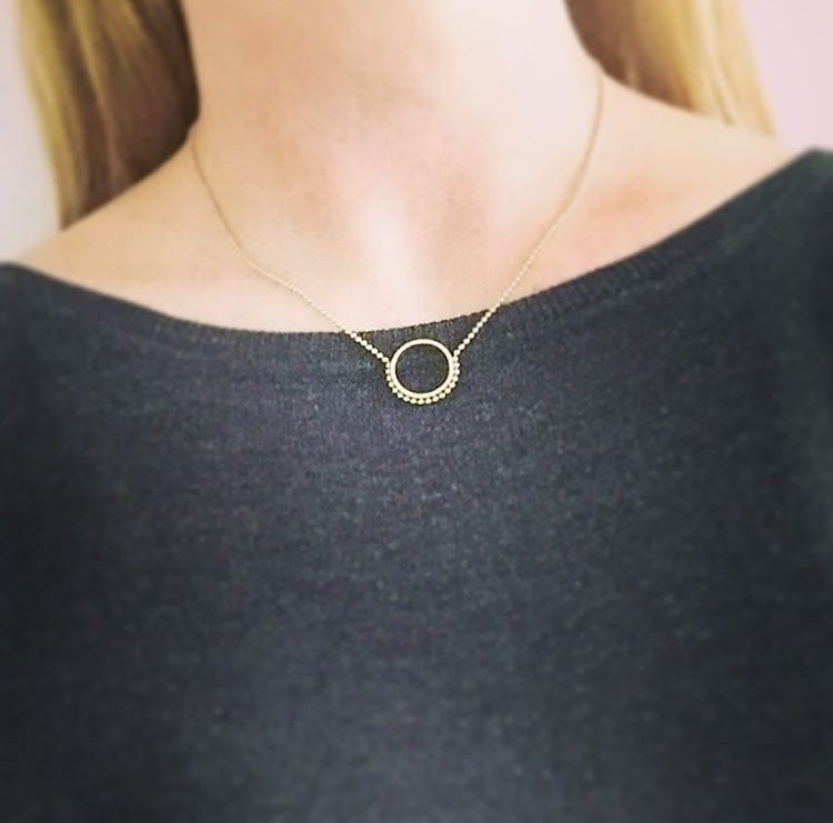 Image of Beaded gold circle necklace