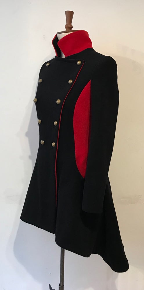 Image of Colour block coat with contrast side panels