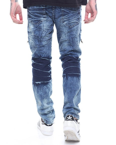 Image of PREMIUM ZIP PLEATED BIKER JEANS