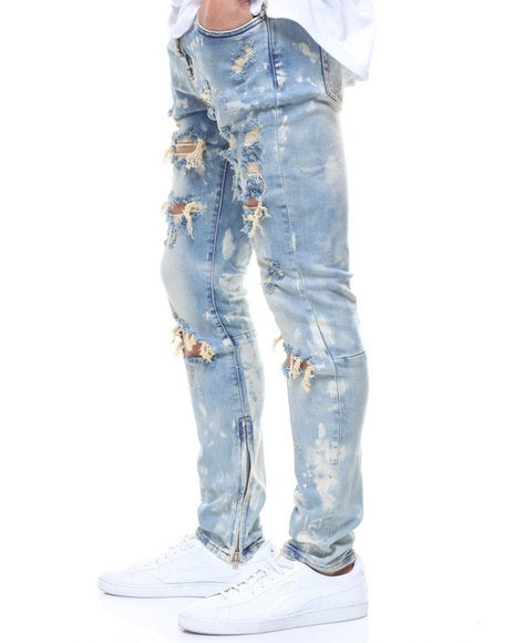 Image of PACIFIC DENIM RIPPED BLEACH JEANS