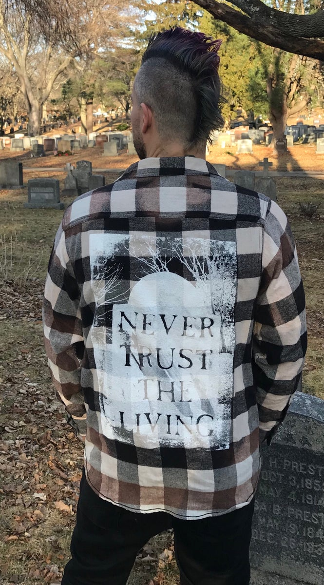 Big 3 Auto >> Never Trust The Living Acid Wash Flannel | Rocknhorror Apparel