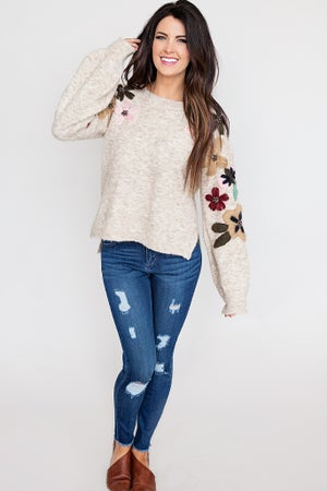 Image of Embroidered Floral Sweater