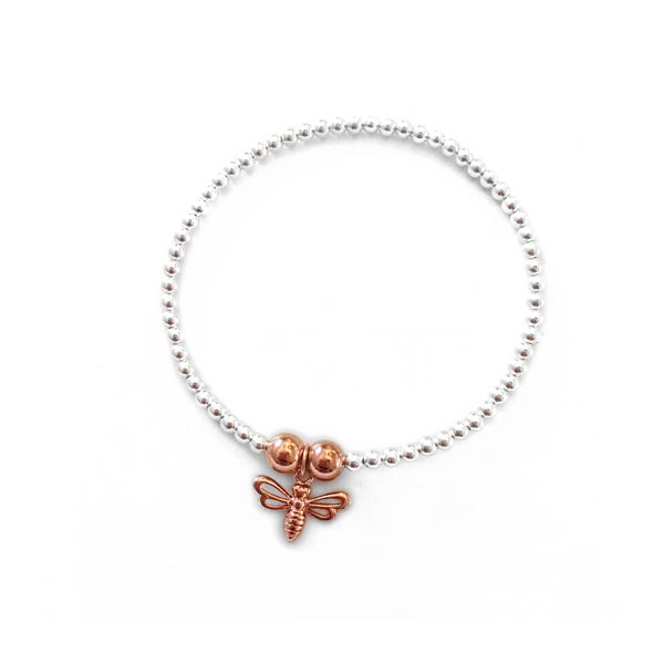 Image of Rose Gold & Sterling Silver Bee Charm Bracelet