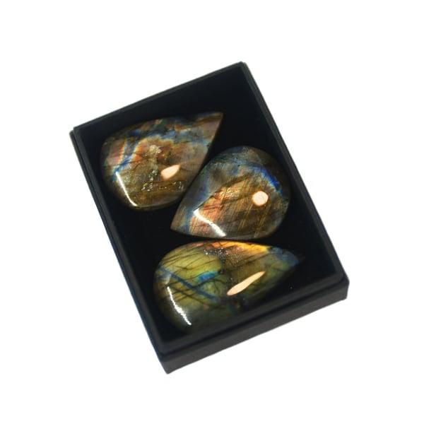 Image of Labradorite teardrop cabochons box
