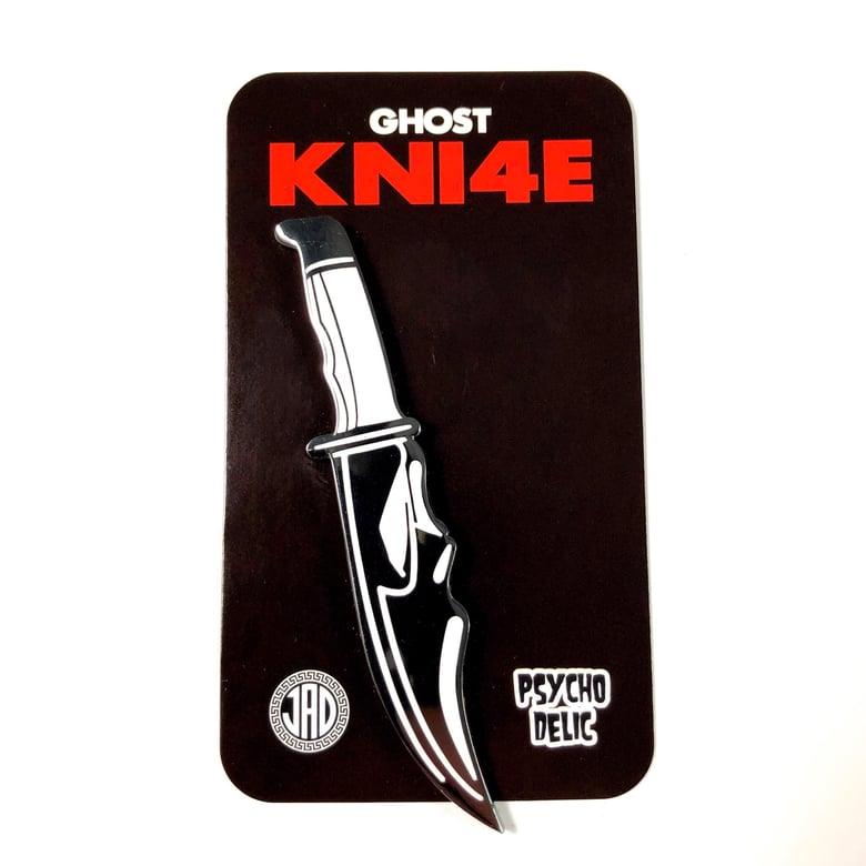 Image of Ghost Knife INVERTED BLACK/WHITE (Enamel Pin)