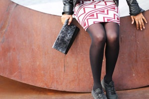 Image of Black/Gray Patent Snake with Black Leather Clutch
