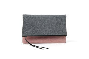 Image of Grey Stingray with Pink Leather Foldover Clutch