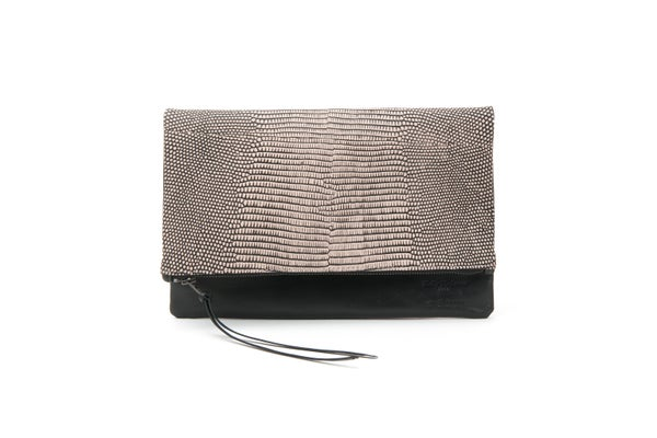 Image of Pink/Black Reptile Print with Black Leather Clutch