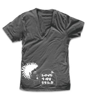 Image of Love Thy Self Grey V-Neck Tee