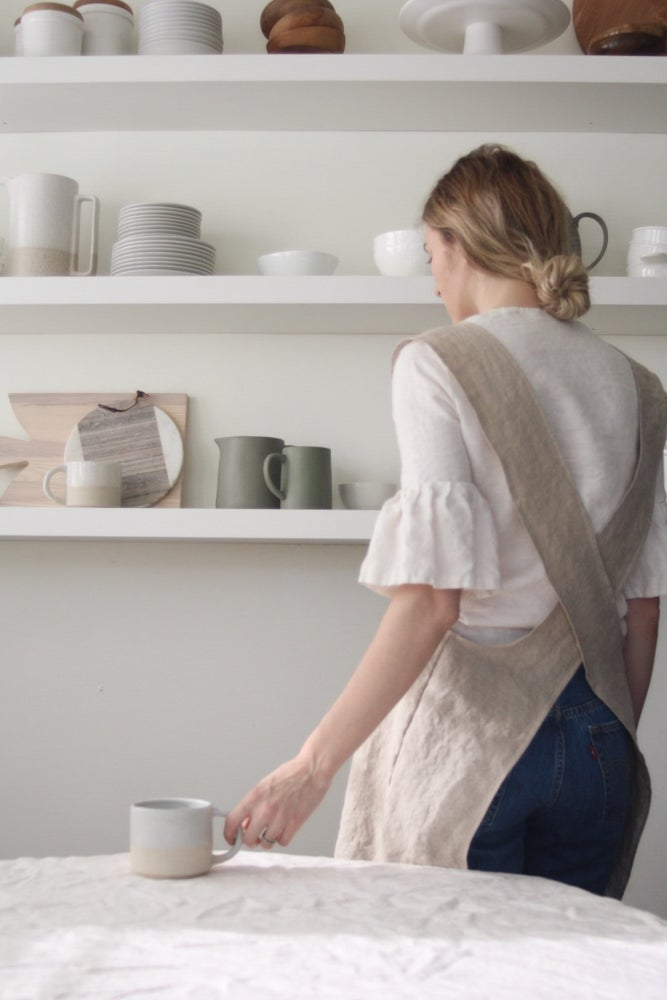 Image of Linen utility apron- flax