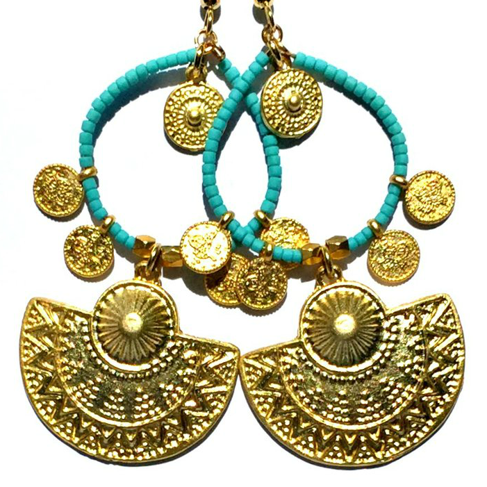 Image of Ltd Ed - Gold Temple of Karnak Earrings - Aqua