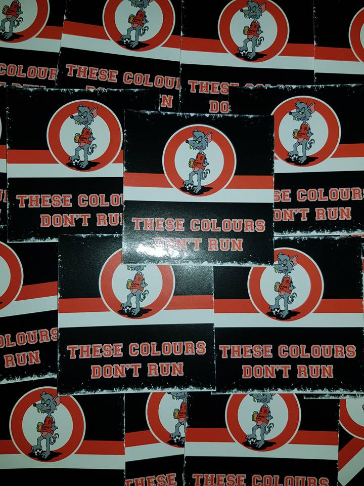 Larne FC, These Colours Don't Run New Football Ultras Stickers 7x7cm 25 pack.