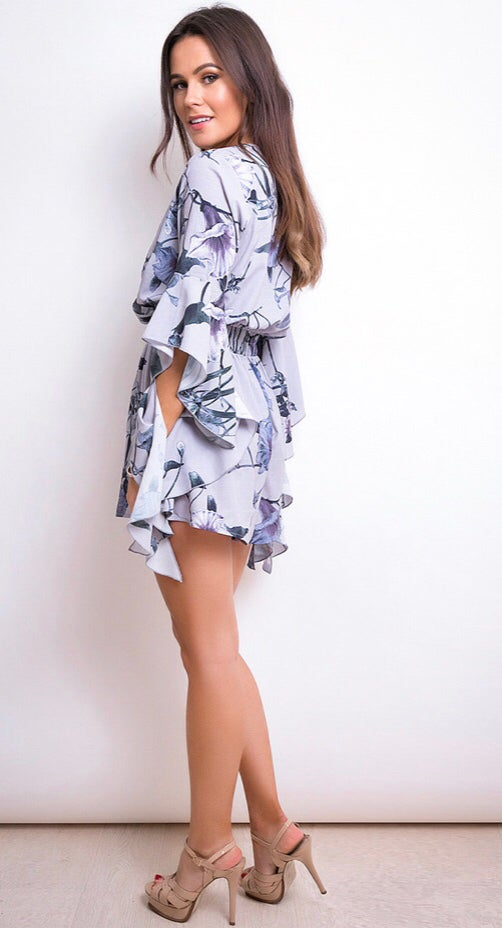 Image of Elsie floral wrap playsuit