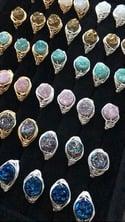 Green Cosmic Ring - Aura Agate Crystal