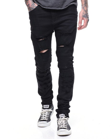 Image of DISTRESSED MOTO JEANS