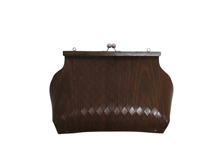 Image of BAG IN WOOD SOPHIA - SIZE M AND L - BROWN COLOR