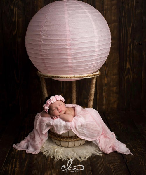 "Image of Get 3 FREE BALLOONS!! Woodsy Wonders Original ""NEWBORN"" Hot Air Balloon Basket"