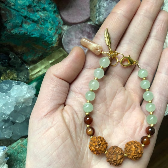 "Image of ""Passion, Peace & Positivity"" Aquamarine, Carnelian, Rudraksha & Peach Moonstone Bracelet"