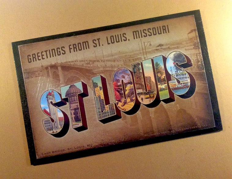 St  Louis vintage-style postcard wall piece