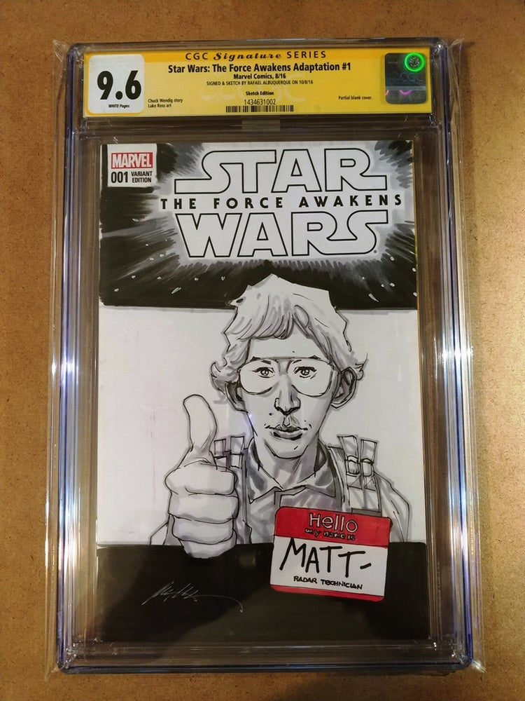 Image of Star Wars The Force Awakens #1 CGC Signature Series 9.6 Singed & Sketch By Rafael Albuquerque
