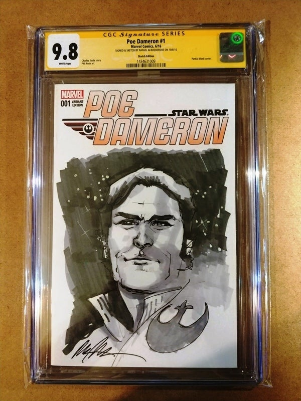 Image of Star Wars Poe Dameron #1 CGC Signature Series 9.8 Singed & Sketch By Rafael Albuquerque