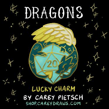 Image of Lucky Charm Dragon hard enamel pin