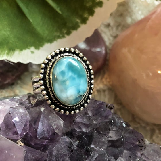 """Image of """"Of Sky & Sea"""" Larimar Sterling Silver Ring (8.25-8.75)"""