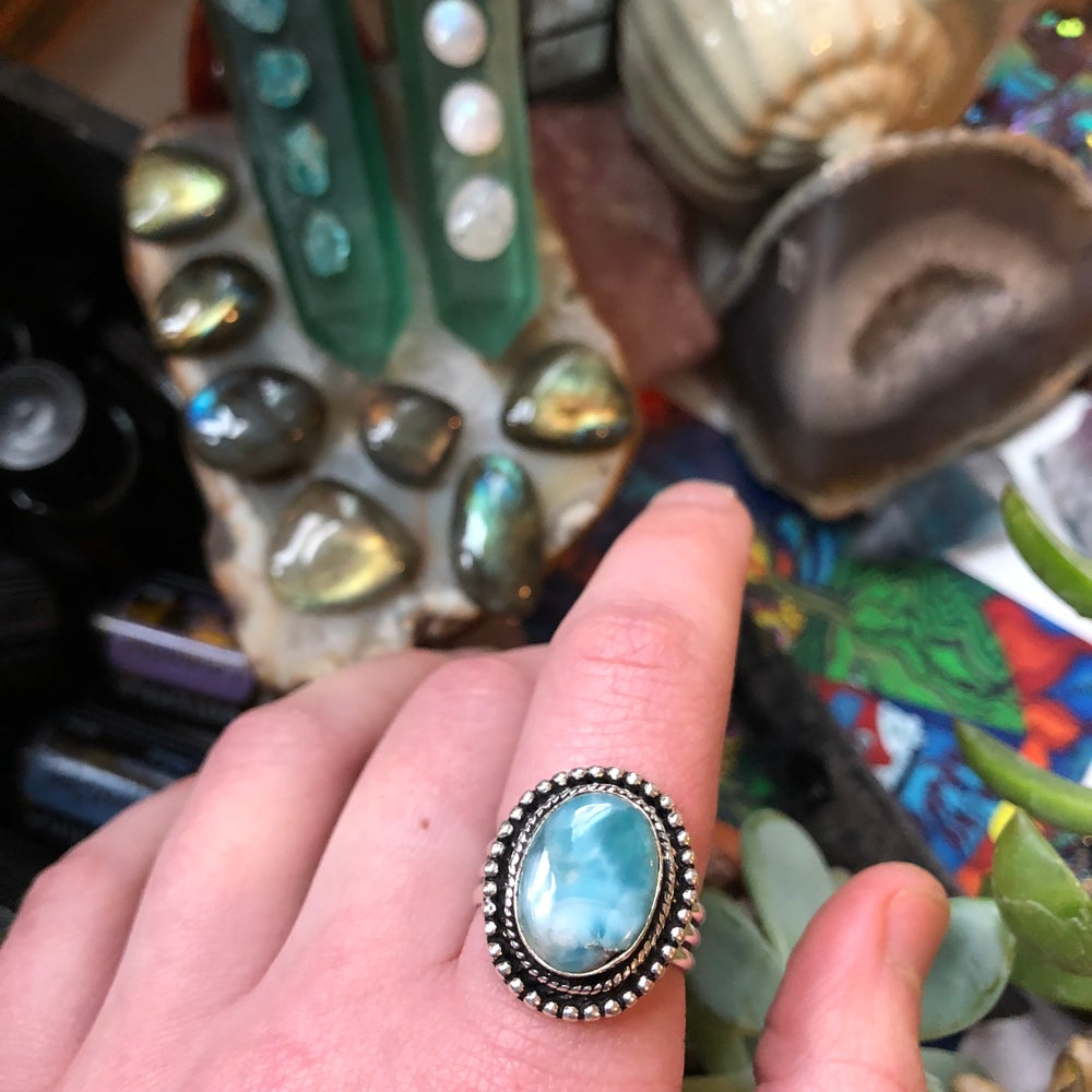 "Image of ""Of Sky & Sea"" Larimar Sterling Silver Ring (8.25-8.75)"
