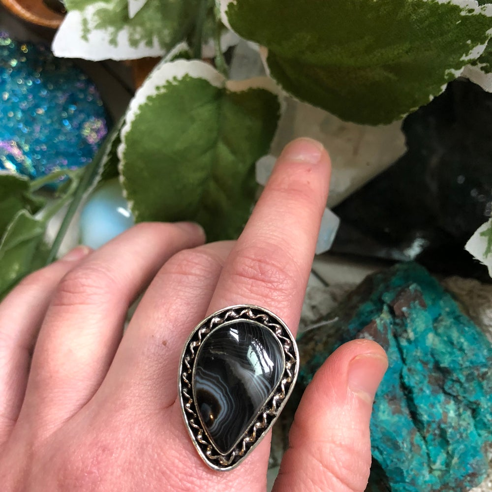 "Image of ""Cleo"" Banded Agate Sterling Silver Ring (8.75-9.25)"