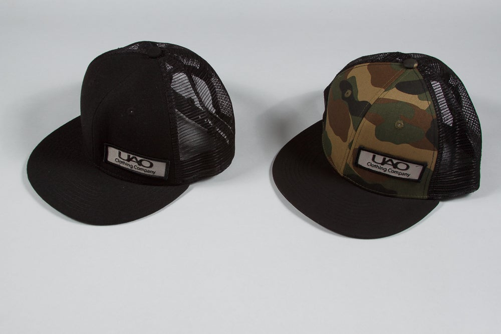 Image of UAO Clothing Co. Patch Trucker Hats (Black or Camo) 94930594817