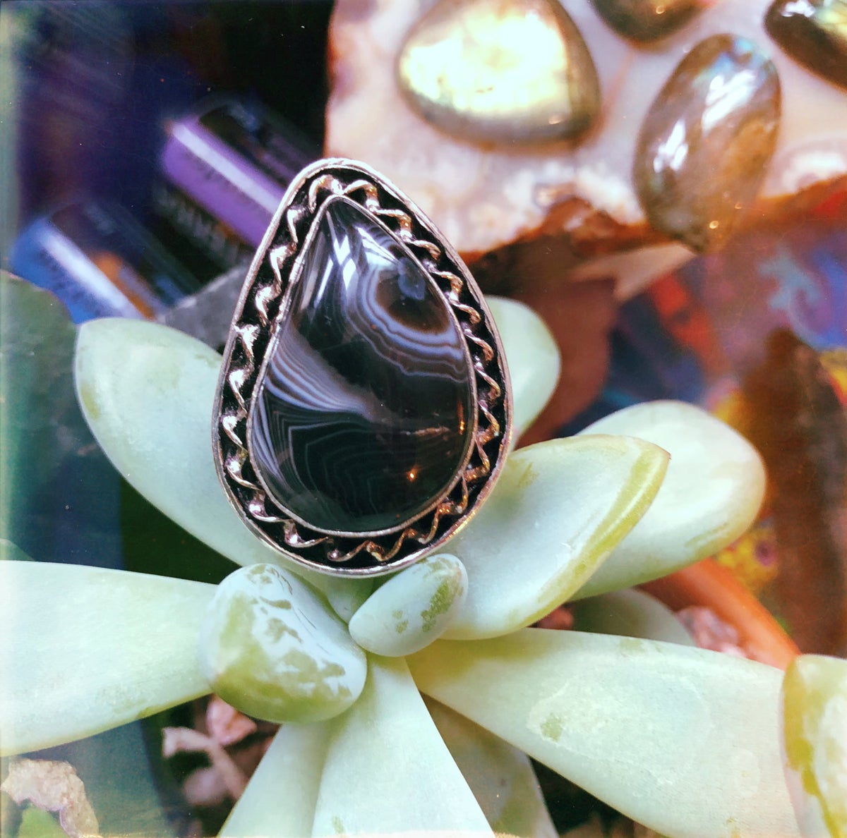 """Image of """"Cleo"""" Banded Agate Sterling Silver Ring (8.75-9.25)"""