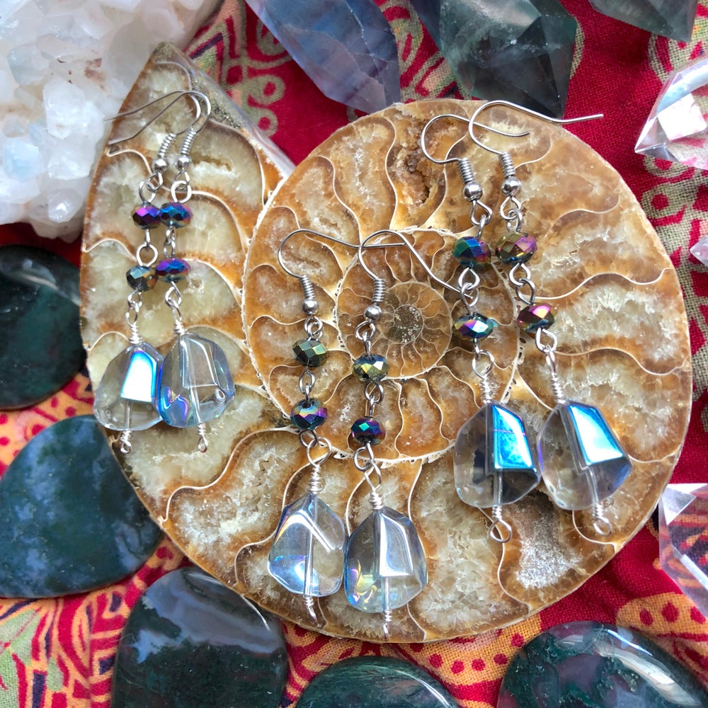 """Image of """"Auric Vibrancy"""" Titanium Pyrite & Aura Glass Wire-Wrapped Earrings"""