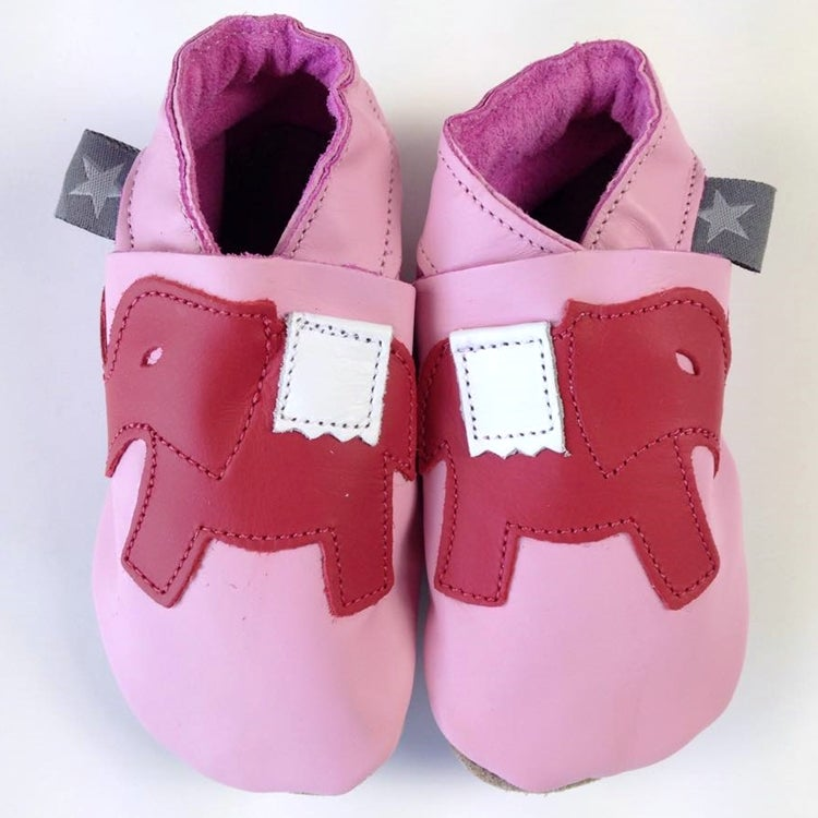 Image of Elephant Leather Baby Shoes in Pink