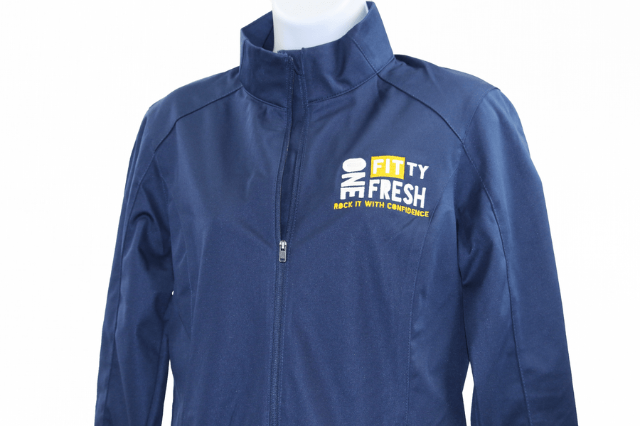 Image of One Fitty Fresh women's blue zip up jacket