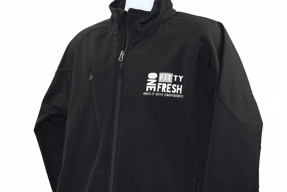 Image of One Fitty Fresh men's black zip up jacket