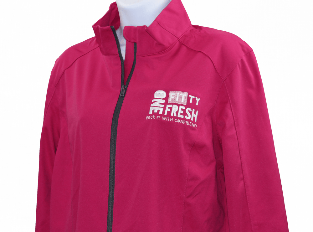 Image of One Fitty Fresh women's pink zip up jacket