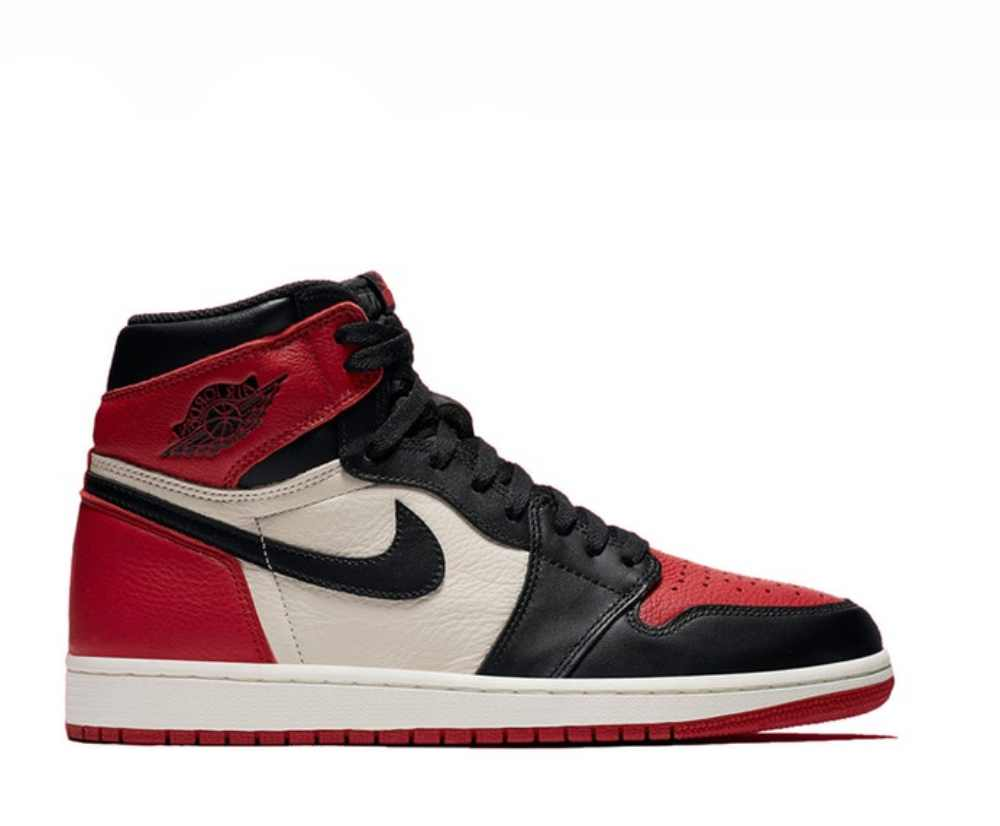 "Image of NIKE AIR JORDAN 1 RETRO HIGH OG ""BRED TOE"" 555088-610"