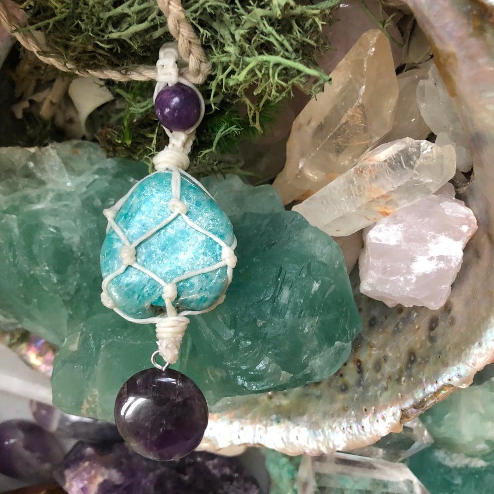 Image of Amazonite, Lepidolite & Amethyst Hemp-Netted Necklace