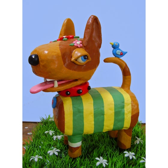 Image of Hand-sculpted Yellow Dog in Striped Sweater with Blue Bird Clay Figure