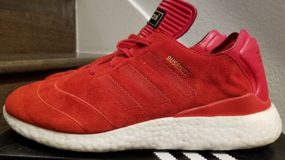 0e2ec5cbd Image of Adidas BUSENITZ PURE BOOST Scarlet Red   White - US 10.5