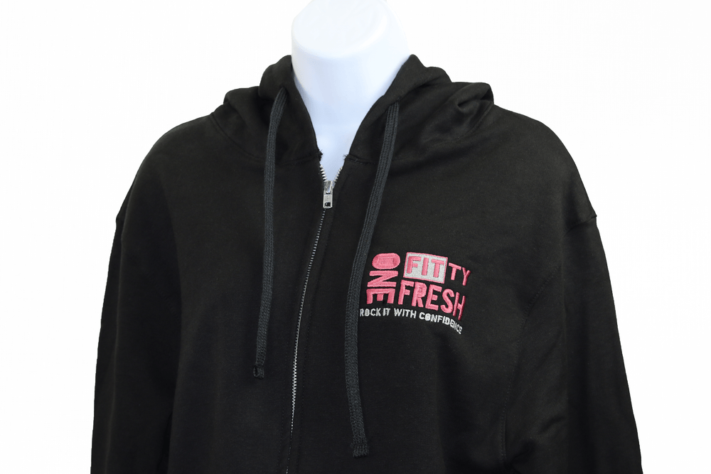 Image of One Fitty Fresh women's black zip up hoodie