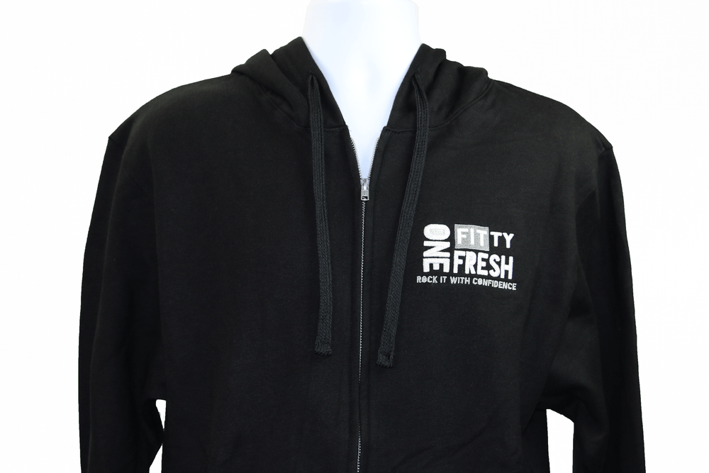 Image of One Fitty Fresh men's black zip up hoodie